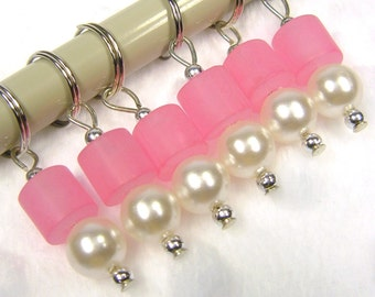 Pink frosted and pearl beaded stitch markers set of 6 READY TO SHIP, removable stitch markers, knitting accessories, knitters gift, women
