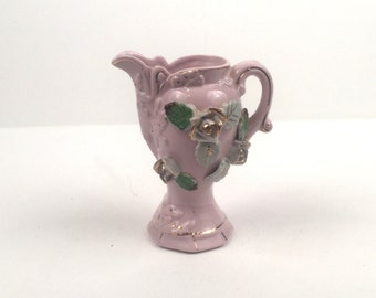 Vintage Pink Vase with Flowers and Gold Trim