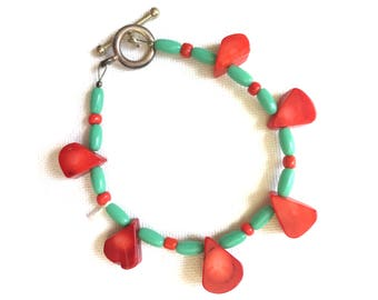 Coral and Glass Beaded Bracelet