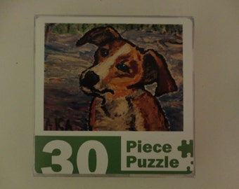 Daphne the Dog, a 30 piece jigsaw puzzle. Reproduced from my original artwork