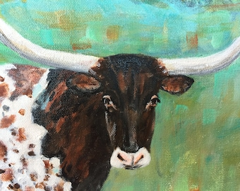 """Original Painting """"The Longhorn"""" 16x20 Canvas ***Free Shipping!***"""