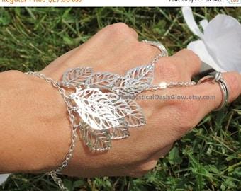 Leaf jewelry elven slave bracelet, ring bracelet, elven jewelry,leaf hand chain, body jewelry hand bracelet, hand accessories, elven ring