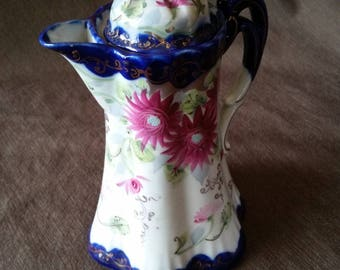 Antique - Vintage Chocolate Pot - Colbalt Blue with Fuschia Daisies