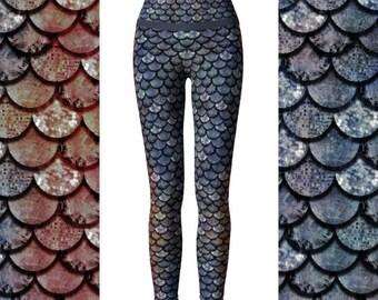 Glitter Fish Glam Salmon, High Waist Eco Friendly Yoga Pants, Mermaid Scale Leggings, Mermaid Leggings, Fish Scale Leggings, Yoga Leggings