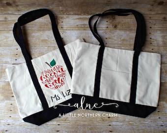 Personalized Teacher Bag, Teacher Tote Bag, It Takes a Big Heart Teacher Bag, Personalized Teacher Gift, Teacher Bag, Custom Teacher Bag