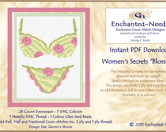 Women's Secrets // Lingere Vintage Cross Stitch Colour PDF DMC Chart // Cross Stitch Pattern // Instant Download // Cross Stitch PDF