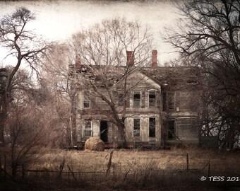 Abandoned Farmhouse Photo - Farm Photography Print - Sepia Tone