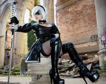 2B Nier: Automata Latex Costume.  Includes dress and gloves!  Optional detailed trim.