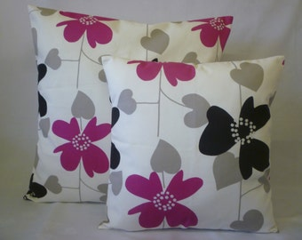 """BIG and Small PAIR Pillow Covers Fuschia Pink Grey Black Designer Cushions Throw Scatter Pillows 22"""" and 16"""""""
