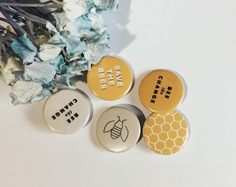 "1"" save the bees buttons"