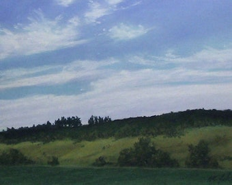 Moody landscape - original pastel painting california landscape trees sky