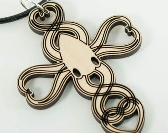 Laser Cut Wood Squid of Love Pendant Necklace