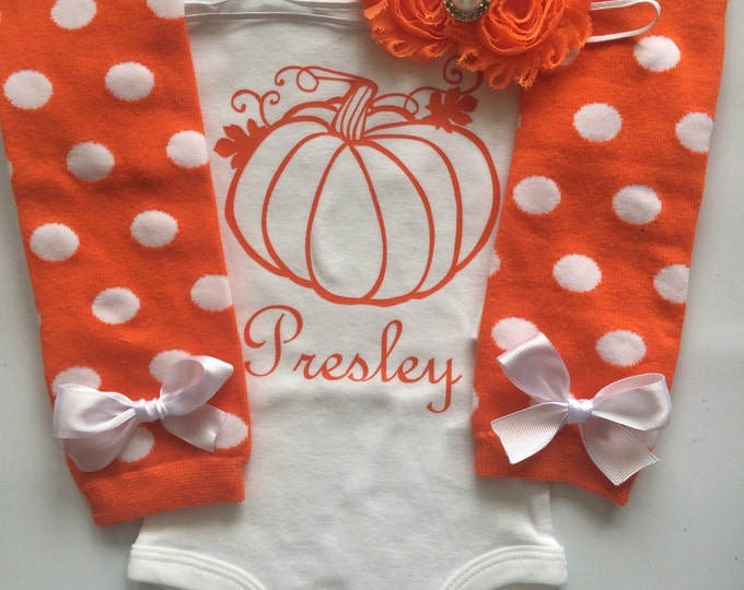 Baby Girl Fall Outfit Personalized Pumpking