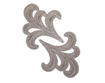 Silver Floral Iron On Applique, Floral Iron On Patch, Flower Applique, Flowers Patch, Wedding Applique, Wedding Patch, Embroidered Patch