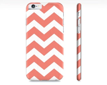 iPhone 6 case, iPhone 7 Case Chevron iPhone Case - Coral and White Chevron Phone Case - Chevron  - Chevron iPhone Case -