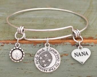 I Love You to the Moon and Back Nana Adjustable Bangle Style Bracelet