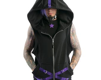 DSF DSFusion Sleeveless D-Ring Hoodie - Gothic - Industrial - Futurewear - Cyberpunk (Color & Size Options Available)