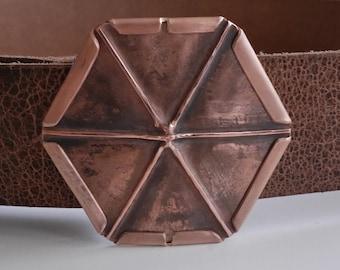 Hexagonal copper belt buckle, mens buckle, womens belts, honeycomb, beehive shape, Foldform Hand Crafted, 7th anniversary