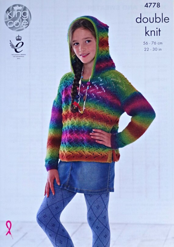 Girls Knitting Pattern K4778 Childrens Long Sleeve Hooded Lace