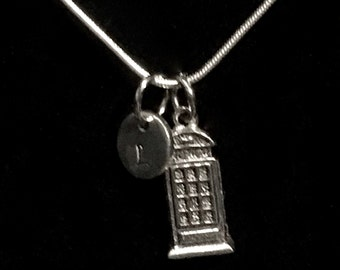 Police Box Silver Necklace, Telephone Box Silver Necklace, Dr. Who Sterling Necklace, British Sterling Necklace qb34