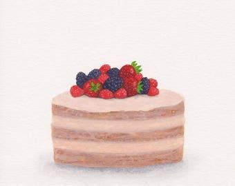 Berry cake art print, kitchen decor, summer berries wall art, food painting, dessert print, coffee shop decor, restaurant decor, digital fil