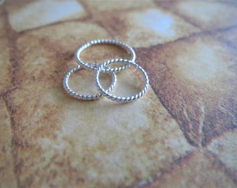 Twisted Silver Nose Ring / Twisted Hoop For All Piercings, 925 Sterling Silver, 21 Gauge, Tiny 5mm to 10mm, 100% Made in the USA