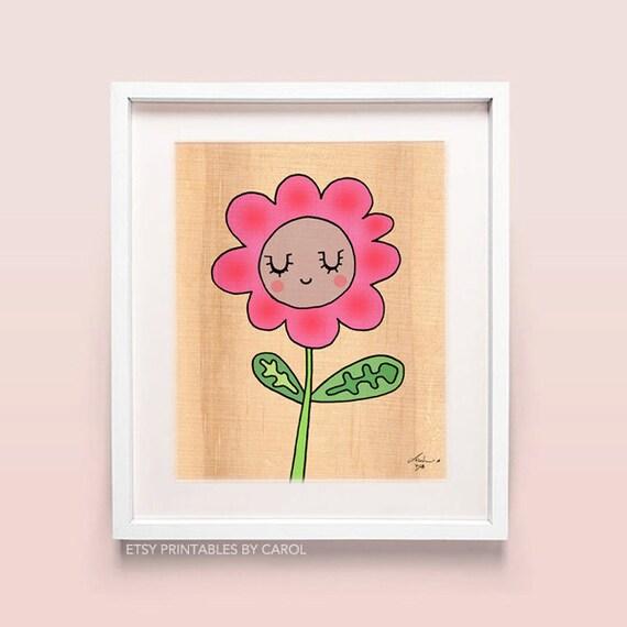 Items similar to Girls room wall decor, nursery printable flower art ...