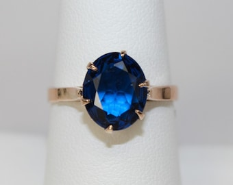 Vintage Hallmarked 14K Yellow Gold Ladies Ring 2.5 Carat Oval Faceted Blue Spinel Solitaire - Promise Anniversary Stack It Sz 8 c1940s