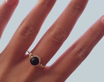Back to Black Wire Wrapped Ring