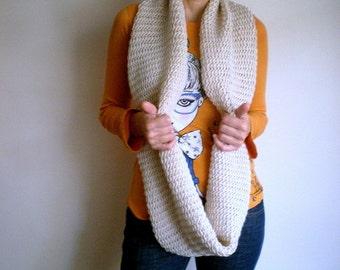Chunky Cowl Lace Loop Scarf Shawl Hood Hand Crochet Cream