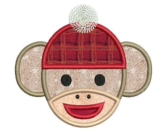 Applique Sock Monkey Face Embroidery Designs 4x4 & 5x7 Instant Download Sale