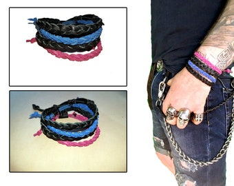 Item 052718 Braided Leather Bracelet Collection Of 4
