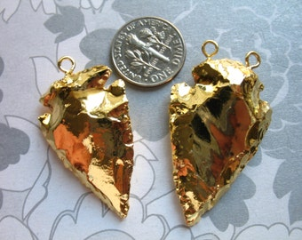 "Sale.. 1 5 10 25 pcs, Jasper Arrowhead Pendant Charm Arrow Head, 24k Gold Electroplate, ~35-60+ mm, 1.5-2.5+"", 1 or 2 top loop, ap10.5 js jl"