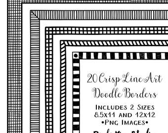 Digital Frame Clipart, Doodle Border Clip Art, Instant Download, Commercial Use, Hand Drawn Line Art Frame Clip Art