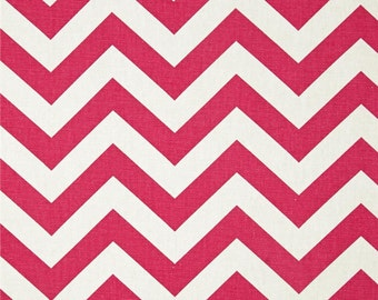 Candy Pink and White Chevron ZigZag Premier Prints Fabric - One Yard - Pink and White Home Dec Fabric