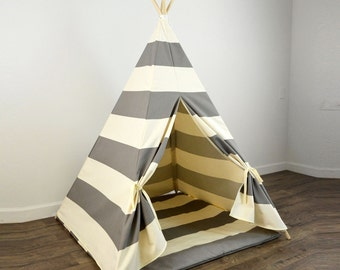 Kids Play Teepee and Play Mat in Gray and Natural Beige Khaki Tan Large Horizontal Stripe : toddler playhouse tent - memphite.com