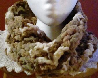 Crocheted Bulky Yarn Twisted Infinity Scarf