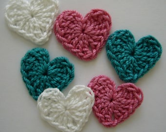 Crocheted Hearts - White, Rose Pink, Teal - Cotton Hearts - Set of 6 - Crocheted Heart Appliques - Crocheted Heart Embellishments