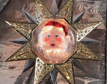Vintage Santa Star Christmas Tree Topper 10 Flashing Lights w/ Original Box