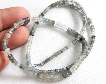 Brand new Very good quality MOSS AQUAMARINE faceted rondelles , 2 mm -- 4 mm Approx, 16 inch strand [E3869]