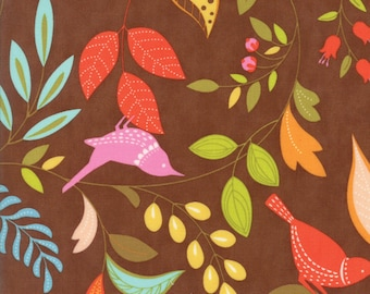 Colorful Bird and Leaf Fabric in Brown - Wing & Leaf by Gina Martin from Moda - Fat Quarter