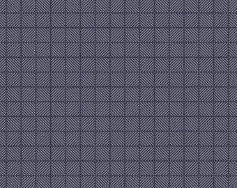 Navy Blue Fabric - Posy Garden Geometric Navy - Gray and Navy Cotton