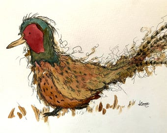 Unframed Pheasant original Illustration