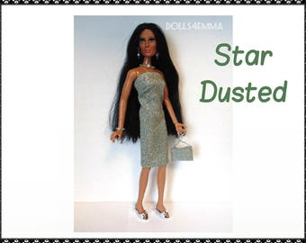 CHER Doll Clothes - Shimmer Dress, hand-beaded Purse and Jewelry - fits vintage Mego Farrah, Tennille - Custom Fashion - by dolls4emma