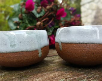 Pair of small bowls celadon glaze stoneware coffee or tea