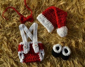 Newborn Santa Claus Suit Crochet Red Santa Outfit Baby Santa Outfit Newborn Christmas Outfit Newborn Santa Photo Prop Infant Santa Suit