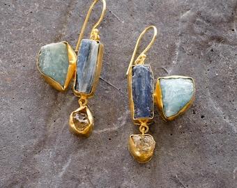 Gemstone earrings with Citrine, Kyanite and Aquamarine