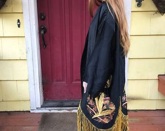 Beautiful Embroidered Robe With Yellow Fringe Detailing