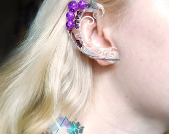 "Elven ears ""Purple elf"", elven earcuffs, fairy ear cuffs, elvish jewelry, gift for girl, wire elf ear, summer jewelry, quasarshop"