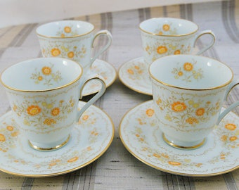 4 Vintage Noritake China Inspiration Orange & Yellow Floral Cup Saucers
